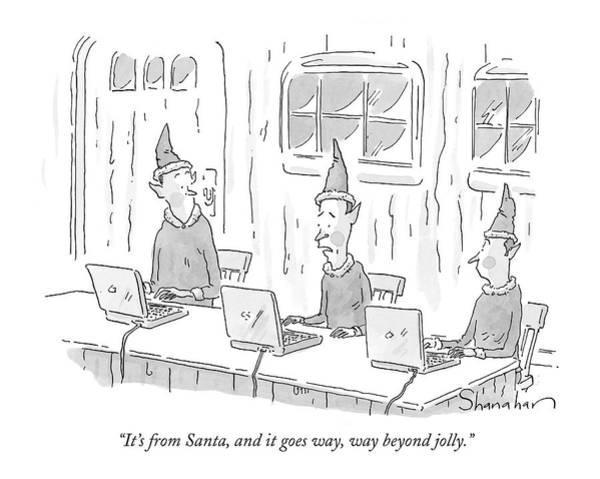 Santa Drawing - Christmas Elves Reading Email From Santa by Danny Shanahan