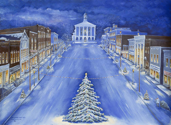 Courthouse Painting - Christmas Eve 1947 by Carol Angela Brown