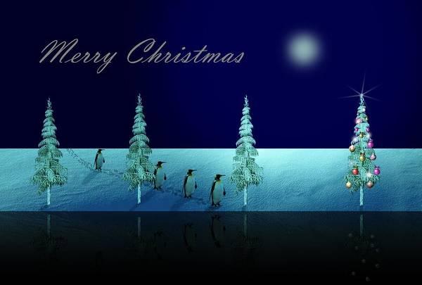 Dehner Digital Art - Christmas Eve Walk Of The Penguins  by David Dehner