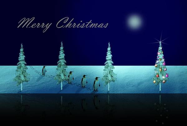 Digital Art - Christmas Eve Walk Of The Penguins  by David Dehner