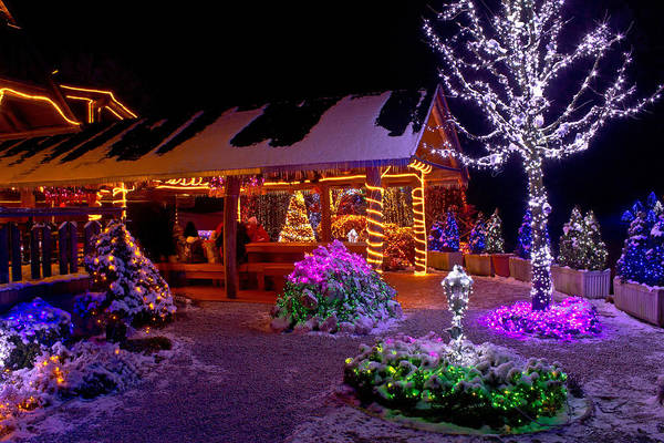 Holiday Cottage Mixed Media - Christmas Fantasy Lodge And Tree Lights by Brch Photography
