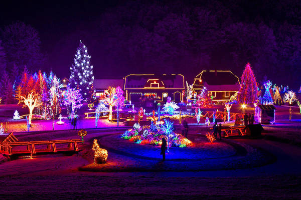 Holiday Cottage Mixed Media - Christmas Fantasy Trees And Houses In Lights by Brch Photography