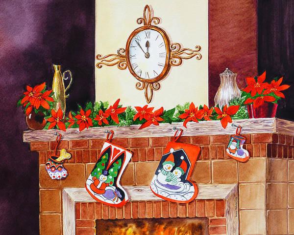 Fireplace Painting - Christmas Fireplace Time For Holidays by Irina Sztukowski