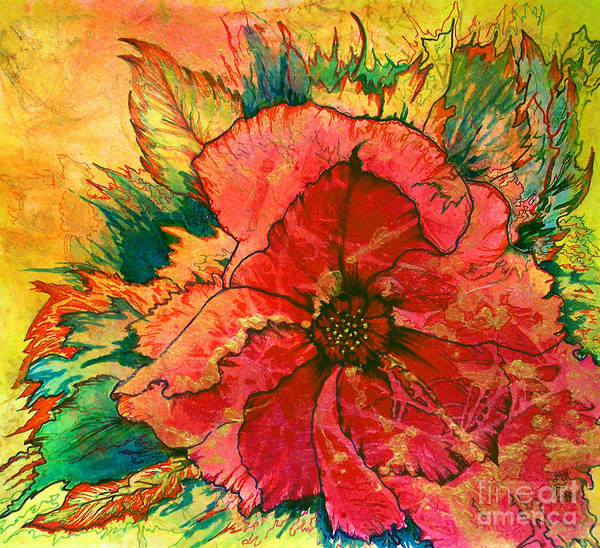 Art Print featuring the painting Christmas Flower by Nancy Cupp