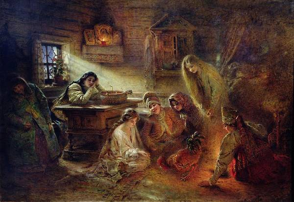 Maiden Wall Art - Photograph - Christmas Fortune Telling Oil On Canvas by Konstantin Egorovich Makovsky