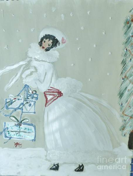 Wall Art - Painting - Christmas Girl In White Coat by Marie Bulger