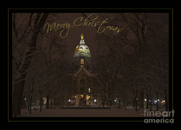 Wall Art - Photograph - Christmas Greeting Card Notre Dame Golden Dome In Night Sky And Snow by John Stephens