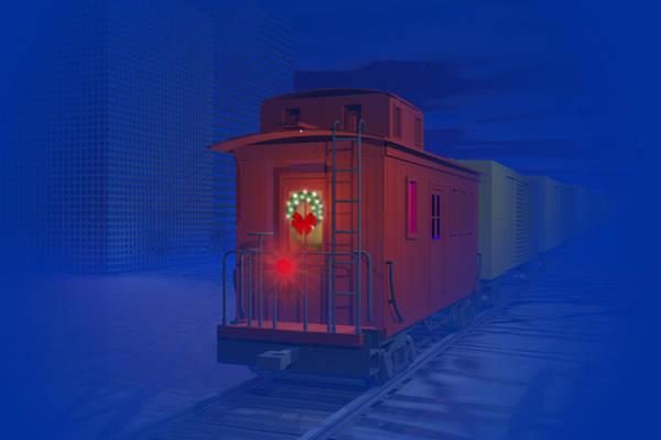 Caboose Wall Art - Digital Art - Christmas Greetings by Carol and Mike Werner