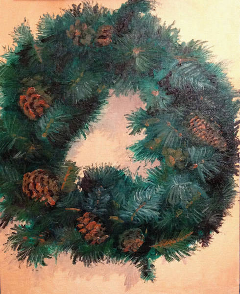Pine Needles Painting - Christmas Holiday Wreath by Arch