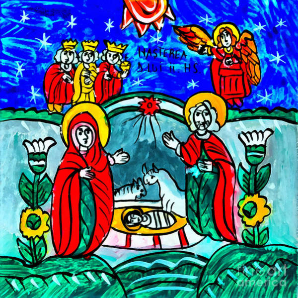 Mixed Media - Christmas Icon Religious Naive Folk Art Nativity by Daliana Pacuraru