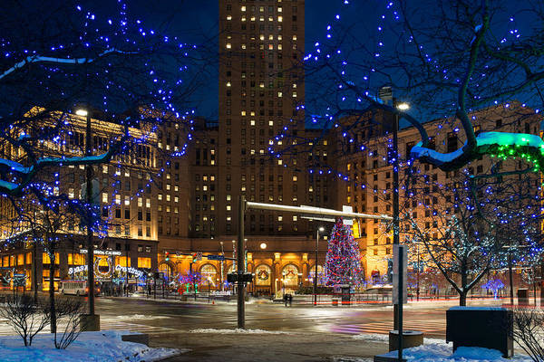 Christmas In Downtown Cleveland Art Print