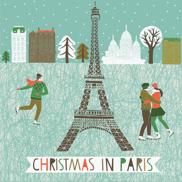 Stylized Wall Art - Digital Art - Christmas In Paris Print Design by Lavandaart