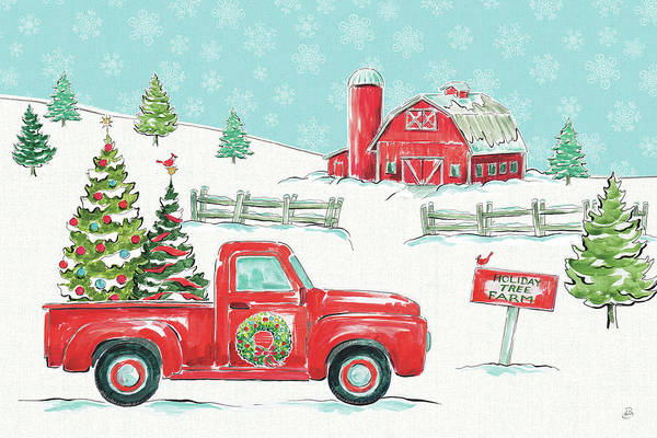 Barn Snow Painting - Christmas In The Country I by Daphne Brissonnet