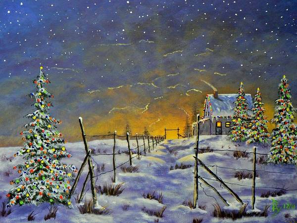Painting - Christmas In The Country by Ray Nutaitis