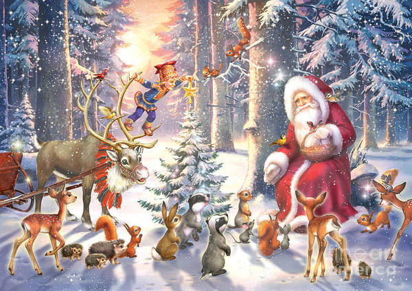Seasonal Digital Art - Christmas In The Forest by MGL Meiklejohn Graphics Licensing