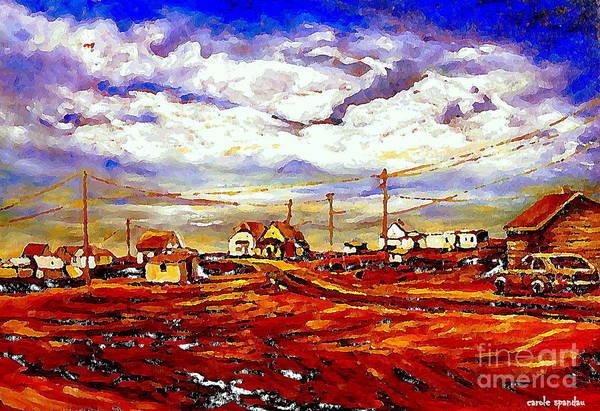 Painting - Christmas In The Prairies A Cozy Village Winter Scene Painting Carole Spandau Art  by Carole Spandau