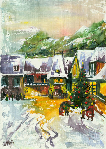 Wall Art - Painting - Christmas In The Small Town by Elisabeta Hermann