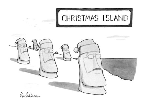 Christmas Drawing - Christmas Island by Leo Cullum