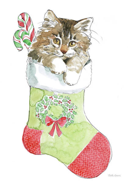 Cane Painting - Christmas Kitties Iv by Beth Grove