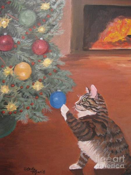 Painting - Christmas Kitty Cat by Stella Sherman