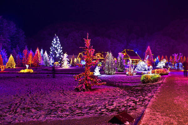Holiday Cottage Mixed Media - Christmas Lights In Town Park - Fantasy Colors by Brch Photography