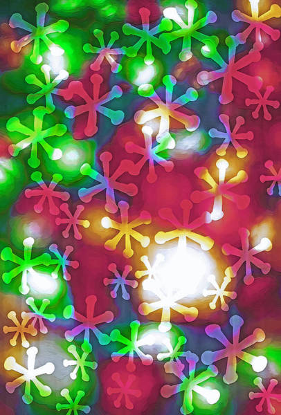Christmas Season Wall Art - Photograph - Christmas Lights With Snowflakes by Steve Ohlsen