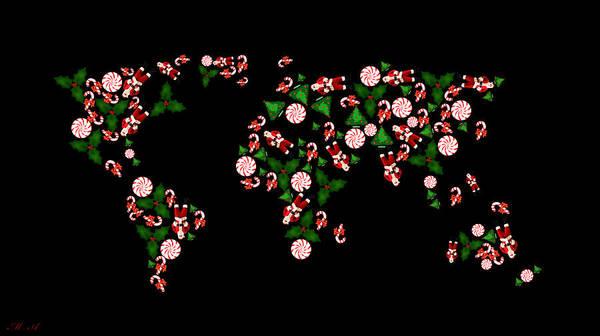 Work Of Art Digital Art - Christmas Map by Mark Ashkenazi