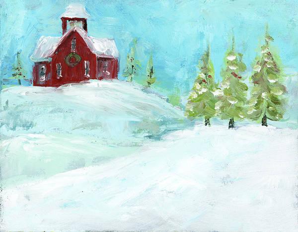 Barn Snow Painting - Christmas Meadows by Pamela J. Wingard