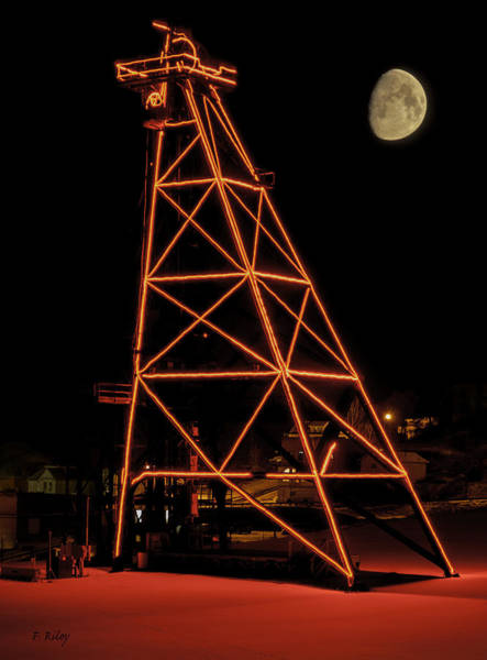 Photograph - Christmas Moon Over Butte Headframe by Fran Riley