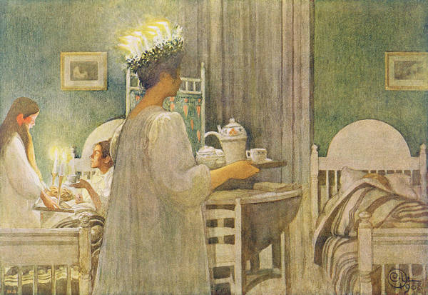 Fete Wall Art - Painting - Christmas Morning, Pub. In Lasst Licht by Carl Larsson