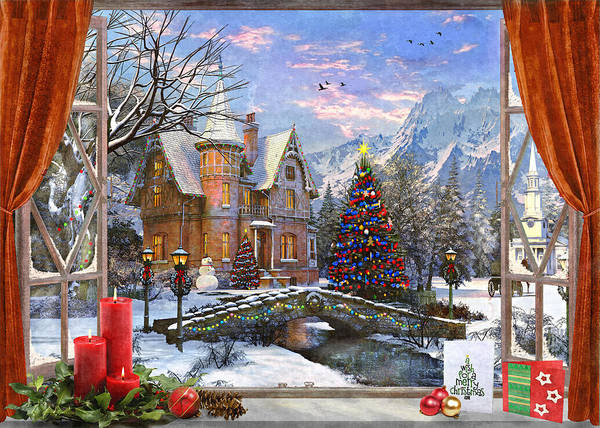 Wall Art - Painting - Christmas Mountian View by MGL Meiklejohn Graphics Licensing