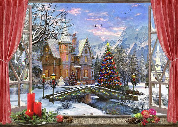 Wall Art - Painting - Christmas Mountian View (variant 1) by MGL Meiklejohn Graphics Licensing