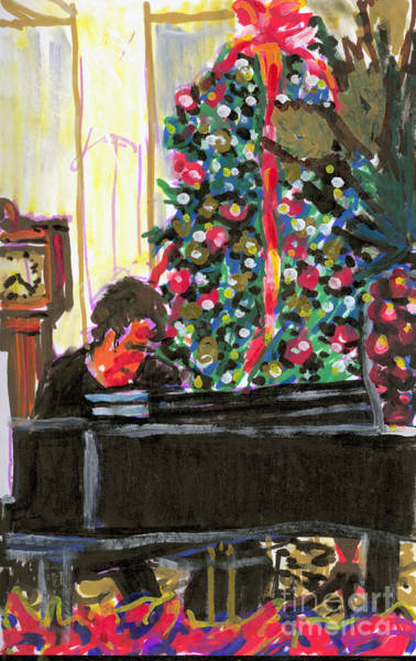 Grandfather Clock Painting - Christmas Mulberry Inn 2001 by Candace Lovely