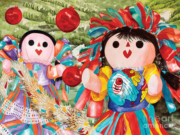 Painting - Christmas Munecas by Kandyce Waltensperger