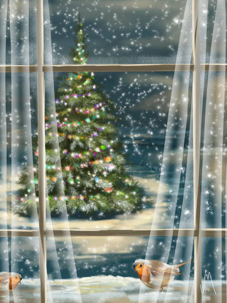 Finger Painting - Christmas Night by Veronica Minozzi