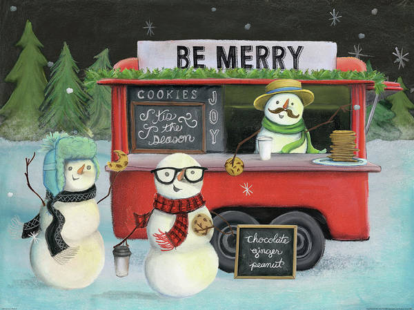 Mustache Painting - Christmas On Wheels IIi by Mary Urban