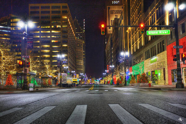 Michigan Ave Photograph - Christmas On Woodward Ave Detroit Mi by A And N Art