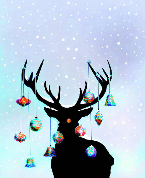 Hanging Digital Art - Christmas Ornaments Hanging From by Gary Waters