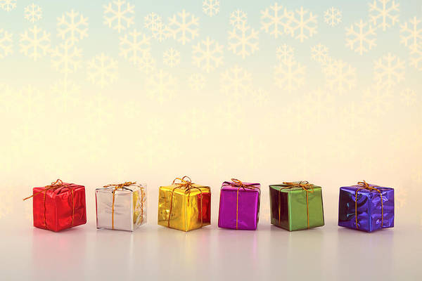 Photograph - Christmas Presents And Snowflakes by Peggy Collins