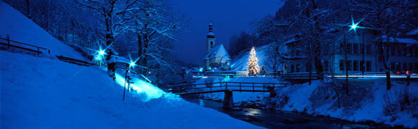 Village Creek Photograph - Christmas Ramsau Germany by Panoramic Images