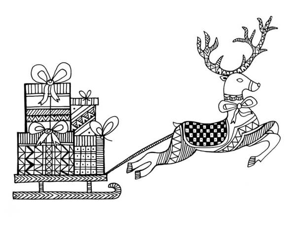Wall Art - Drawing - Christmas Reindeer by MGL Meiklejohn Graphics Licensing