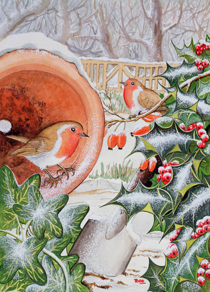 Spade Painting - Christmas Robins by Tony Todd