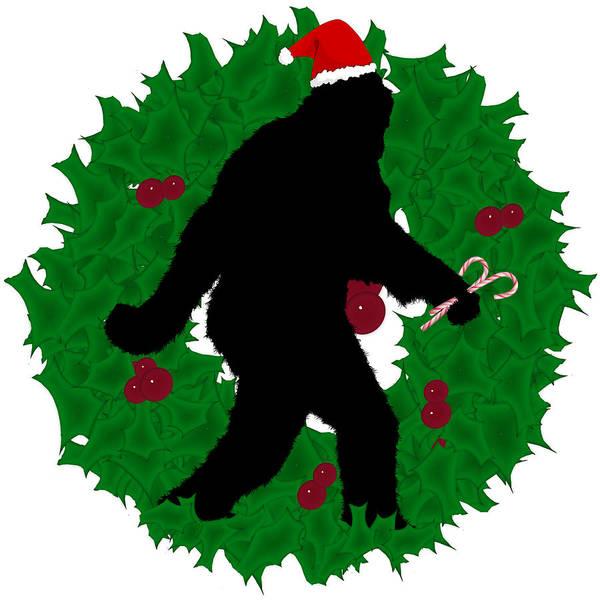 Urban Legend Digital Art - Christmas Sasquatch With Wreath by Gravityx9 Designs