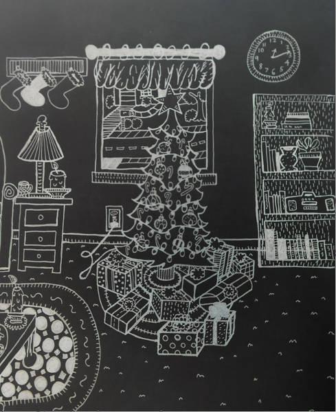Wall Art - Drawing - Christmas Scene by Chelsea Geldean