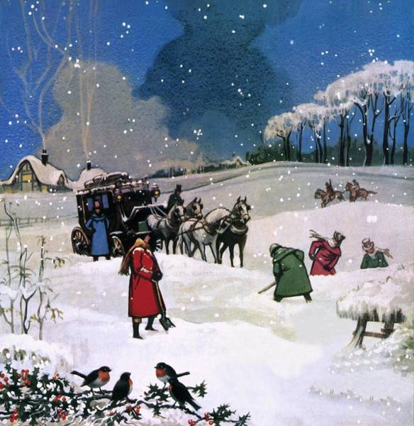 Falling Snow Wall Art - Painting - Christmas Scene by English School