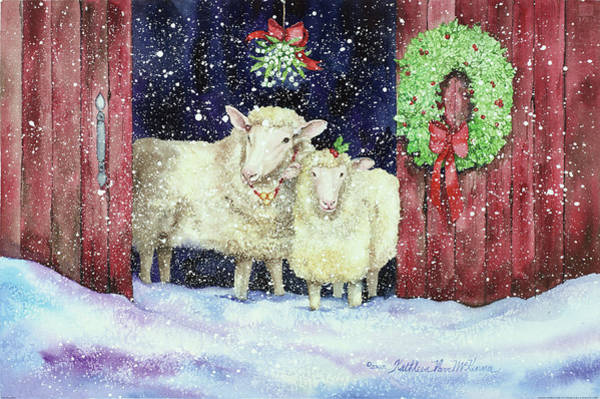 Barn Snow Painting - Christmas Sheep by Kathleen Parr Mckenna