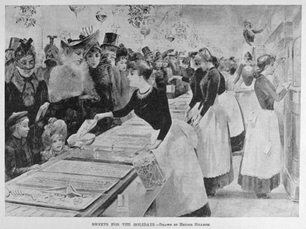 Drawing - Christmas Shopping, 1891 by Granger