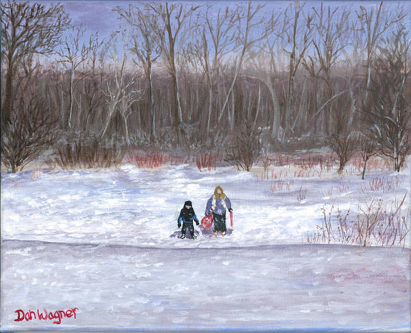 Painting - Christmas Sledding by Dan Wagner