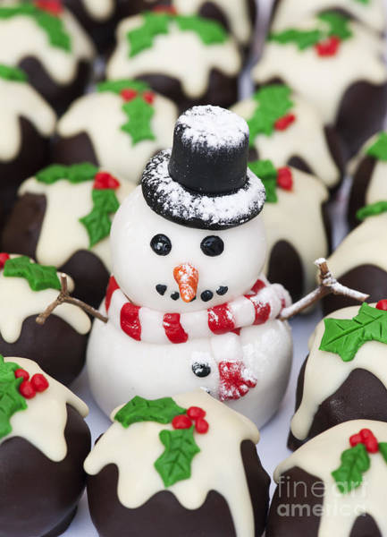 Photograph - Christmas Snowman And Chocolate Puddings by Tim Gainey