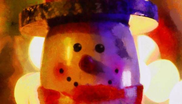 Painting - Christmas Snowman by Dan Sproul